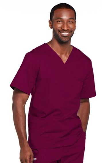 Cherokee® Unisex V-Neck Top - Spandex Stretch Blend - Burgundy