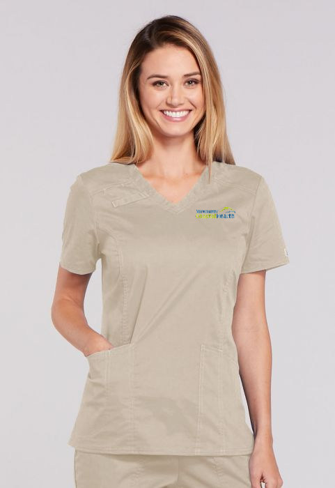Flex Ladies Panel V-Neck Top - Spandex Stretch Blend - Khaki