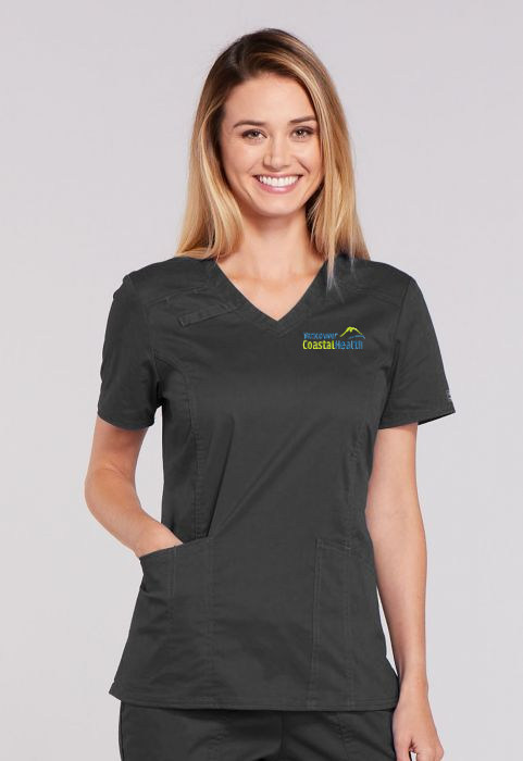 Flex Ladies Panel V-Neck Top - Spandex Stretch Blend - Charcoal