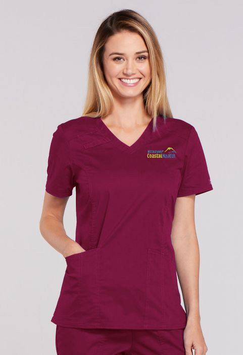 Flex Ladies Panel V-Neck Top - Spandex Stretch Blend - Burgundy
