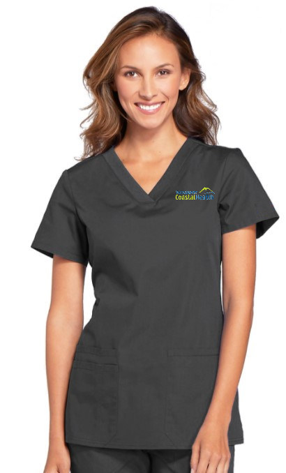 Ladies Classic V-Neck Style Scrub Top - Charcoal