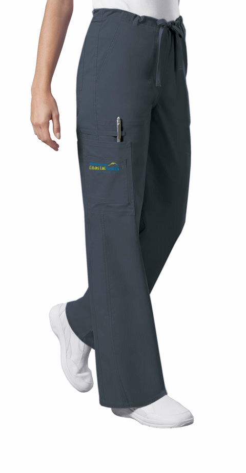 Flex Unisex Drawstring Cargo Pant - Stretch Blend - Charcoal